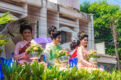 Ubon Ratchathani, Thailand - April 13, 2015: Beautiful Parade an. D Dancing Shows in Songkran Festival Celebration. The Songkran festival is the Thai New Year's Stock Photos