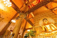 Ubon Ratchathani, Thailand. March 18, 2018. : golden buddha in t Royalty Free Stock Photo