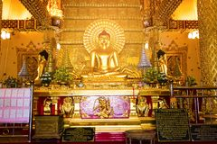 Ubon Ratchathani, Thailand. March 18, 2018. : golden buddha in t Royalty Free Stock Image