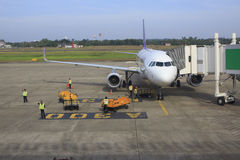 UBON RATCHATHANI THAILAND - Nov21 - thai airway plane parking on Stock Photos