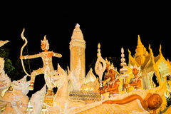 Ubonratchathani, Thailand - Juli 12: De kaarsfestival van Thailand  Stock Fotografie
