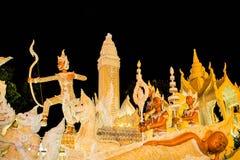 Ubonratchathani Thailand - Juli 12: Thailand stearinljusfestival på Arkivbild