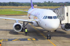 UBONRATCHATHANI THAILAND-NOVEMBER21 : thai airways plane parking Stock Photo