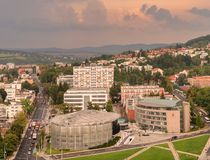 Ubran landscape photography of the centre of the town Zlin, Czech Republic. View from the roof of the Bata`s skyscaper on the town with dramatic cloudy sky stock image