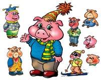 ubraniowe różne śmieszne świnie Zdjęcie Royalty Free
