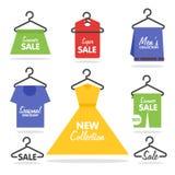 Ubraniowy wieszak sprzedaży signage i sztandary ilustracja wektor