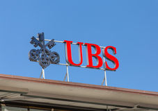 UBS logo on the top of the UBS office. Zurich, Switzerland - 7 June, 2015: UBS logotype on the top of the UBS office on the Paradeplatz square. UBS AG is a Swiss Royalty Free Stock Image