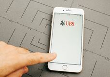 Ubs online banking on iPhone 7 Plus the application software Royalty Free Stock Photos
