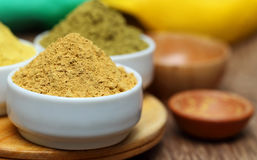 Ubtan powder on bowl Royalty Free Stock Image