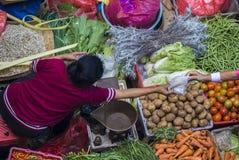 Ubud,巴厘岛, Tradtional公众食品批发市场 库存图片
