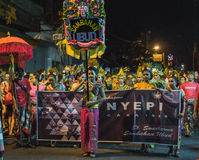 UBUD,巴厘岛- 3月8 :未认出的人在庆祝时 库存图片