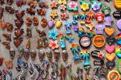 Ubud,巴厘岛- 5月17 :著名纪念品在Ubud市场上 免版税库存照片