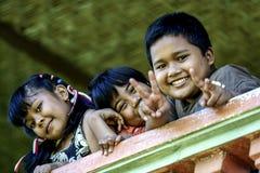 2010.08.07, Ubud, Bali. Children on the beach. Landscape with children in the village. stock photos