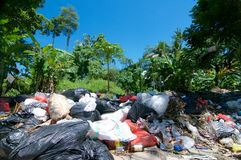 Open air waste collecting center located in Ubud Bali royalty free stock image