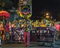 UBUD, BALI - 8. MÄRZ: Nicht identifizierte Leute während der Feier Stockbild