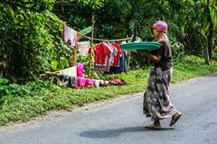 Women with goods on the head going to the market. stock photos