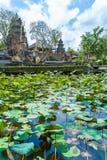 UBUD INDONESIEN - AUGUSTI 29, 2008: Forntida hinduiska lotusblommatempelwi Arkivbilder