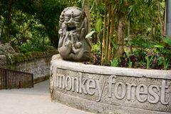 The main entrance. Monkey forest. Padangtegal village. Ubud. Bali. Indonesia. Ubud is a town on the Indonesian island of Bali in Ubud District, located amongst royalty free stock photography