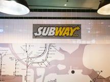 Ubway快餐餐馆标志 库存图片