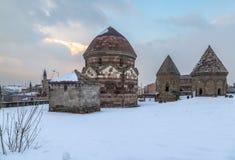 Uc kumbetler three kumbets historical tombs in Erzurum, Turkey. In winter stock image