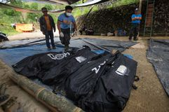 Ucab Itogon Benguet osunięcie się ziemi tragadiego tajfun Ompong Mangkhut Filipiny fotografia stock