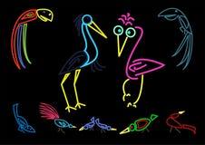 Uccelli al neon Fotografie Stock Libere da Diritti