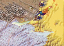 Uccelli astratti degli animali del fagiano dell'acquerello nel fondo floreale Immagine Stock Libera da Diritti