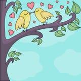 Uccelli che baciano su un brunch Fotografia Stock Libera da Diritti