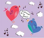 Uccelli che cantano canzone adorabile Immagini Stock Libere da Diritti