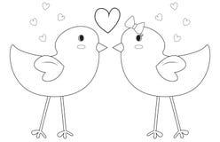 Uccelli che colorano pagina Fotografie Stock Libere da Diritti
