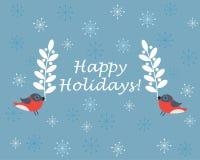 Uccelli che tengono i rami su fondo blu con i fiocchi di neve Fotografie Stock