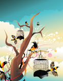 Uccelli che volano a partire dalle loro gabbie Immagini Stock Libere da Diritti