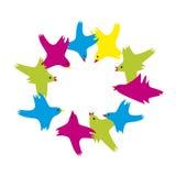 Uccelli colorati volanti Immagine Stock