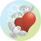 Uccelli con cuore Fotografia Stock
