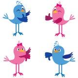 Uccelli con i pollici su e giù illustrazione di stock