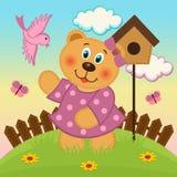 Uccelli d'alimentazione della ragazza dell'orso Fotografia Stock