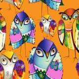 Uccelli decorativi variopinti senza cuciture Fotografia Stock