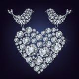 Uccelli del diamante per il giorno del biglietto di S. Valentino royalty illustrazione gratis