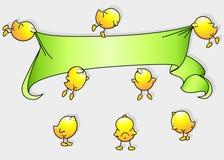 Uccelli del fumetto con la bandiera Fotografia Stock Libera da Diritti