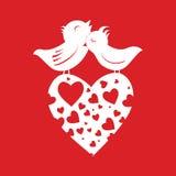 Uccelli dell'amante su cuore Immagine Stock Libera da Diritti