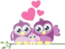 Uccelli della famiglia di amore Fotografia Stock