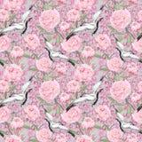 Uccelli della gru, fiori della peonia Modello decorativo di ripetizione floreale watercolor illustrazione di stock
