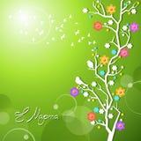 Uccelli della primavera che cantano su un ramo di fioritura illustrazione vettoriale