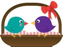 Uccelli di amore con il cestino Fotografia Stock