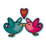 Uccelli di amore del biglietto di S. Valentino con il rosa blu e magenta dell'alzavola del cuore Immagini Stock Libere da Diritti