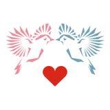 Uccelli di amore e un albero Fotografie Stock Libere da Diritti