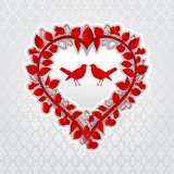 Uccelli di amore nel cuore floreale Fotografia Stock Libera da Diritti