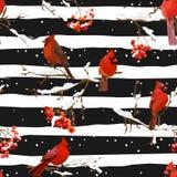 Uccelli di inverno con Rowan Berries Retro Background - modello senza cuciture Immagine Stock Libera da Diritti