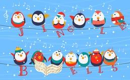 Uccelli di Natale sulla cartolina d'auguri dei cavi Uccelli di Natale che tengono le parole di Jingle Bells Nuovo anno felice Immagine Stock