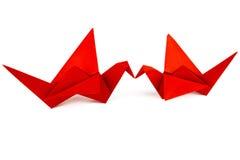 Uccelli di Origami Amore degli uccelli Bacio degli uccelli Fotografia Stock Libera da Diritti